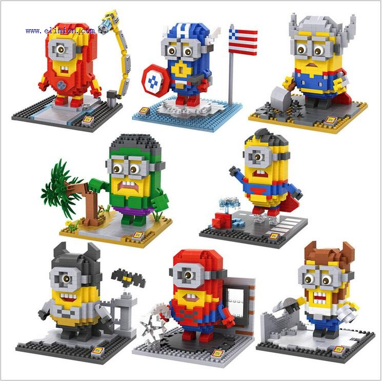LOZ Minons Mini Blocks Super Hero Minion 9536-9543